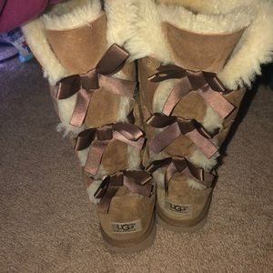 Tan Suede Bailey Bow Tall UGGS